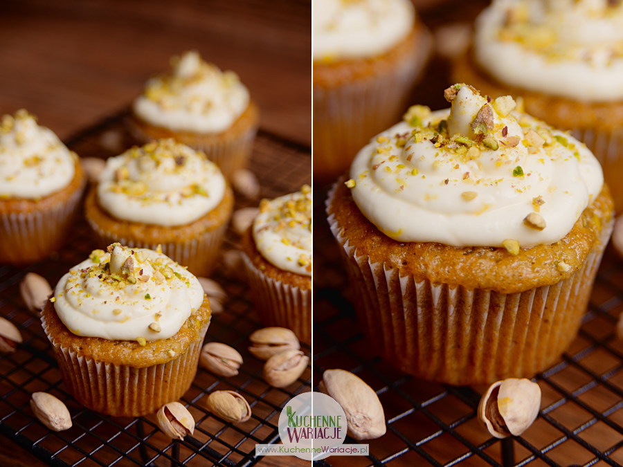 Muffinki pistacjowe z kremem cytrynowym