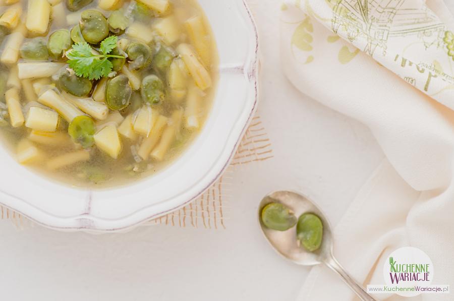 Zupa z bobem, fasolką szparagową i ziemniakami