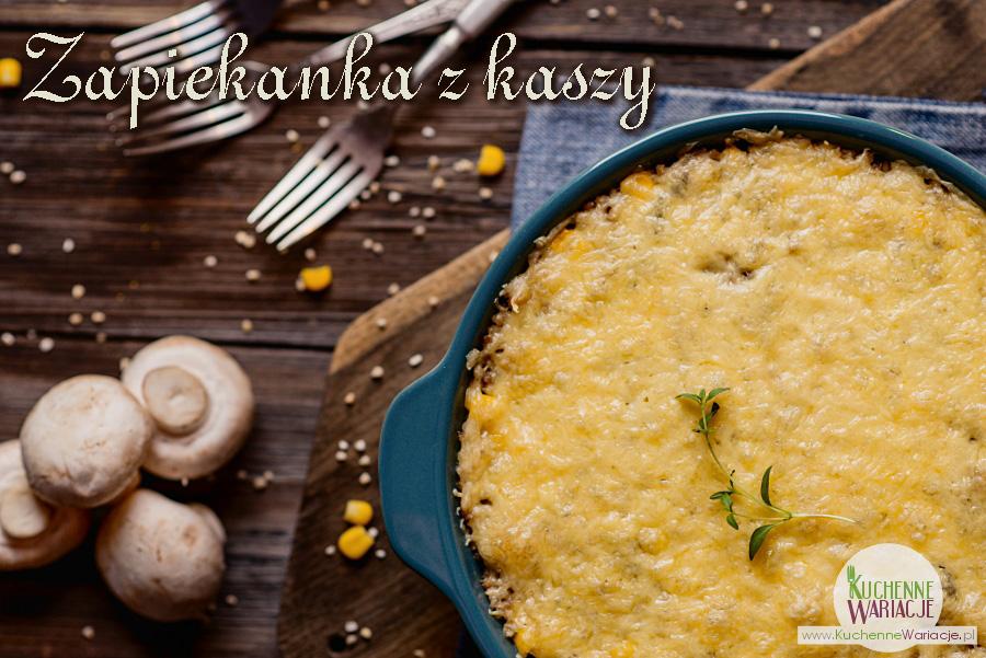Zapiekanka pieczarkowa z kaszy perłowej z mielonym mięsem i kukurydzą