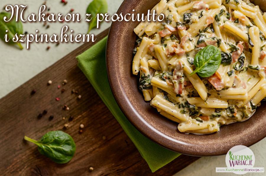 Makaron z prosciutto i szpinakiem w sosie z gorgonzolą