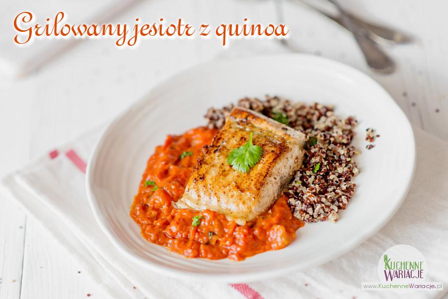 Grilowany jesiotr w sosie pomidorowo-kokosowym z quinoa
