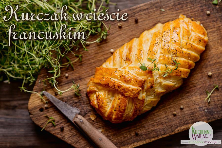 Kurczak faszerowany pieczarkami zapiekany w cieście francuskim