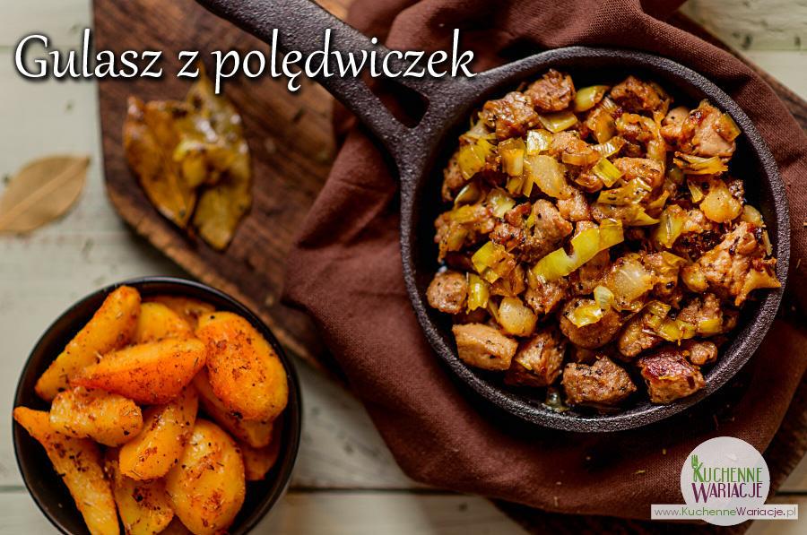 Gulasz z polędwiczki wieprzowej, gruszki i porów w estragonie