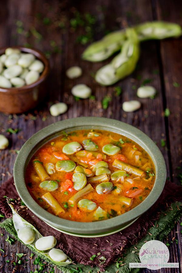 Zupa pomidorowa z bobem i zieloną fasolką szparagową - Kuchenne Wariacje