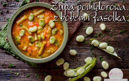 Zupa pomidorowa z bobem i zieloną fasolką szparagową