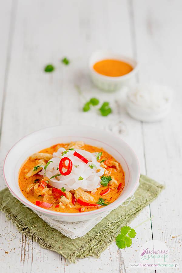 Zupa tajska z makaronem ryżowym - Kuchenne Wariacje, Sezonowo Bezglutenowo