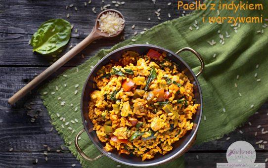 Paella z indykiem i warzywami