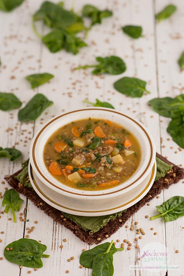 Zupa soczewicowa z ziemniakami, marchewką i szpinakiem - Kuchenne Wariacje, Sezonowo bezglutenowo